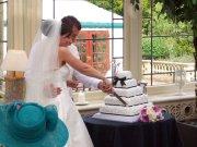 White & Black Ribbon Wedding Cake
