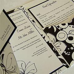 Funky Black and White Pocketfold Wedding Invitation