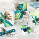 peacock feather ring pillow and guestbook