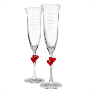 red heart champagne flutes