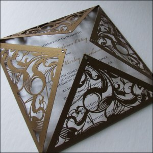 gold laser cut wedding invitation