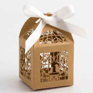 Rustic Kraft Love Bird Laser Cut Wedding Favour Box